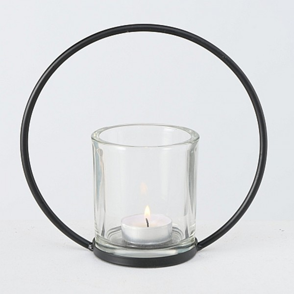 Windlicht RUMBA im Skandi-Style schwarz H.18cm