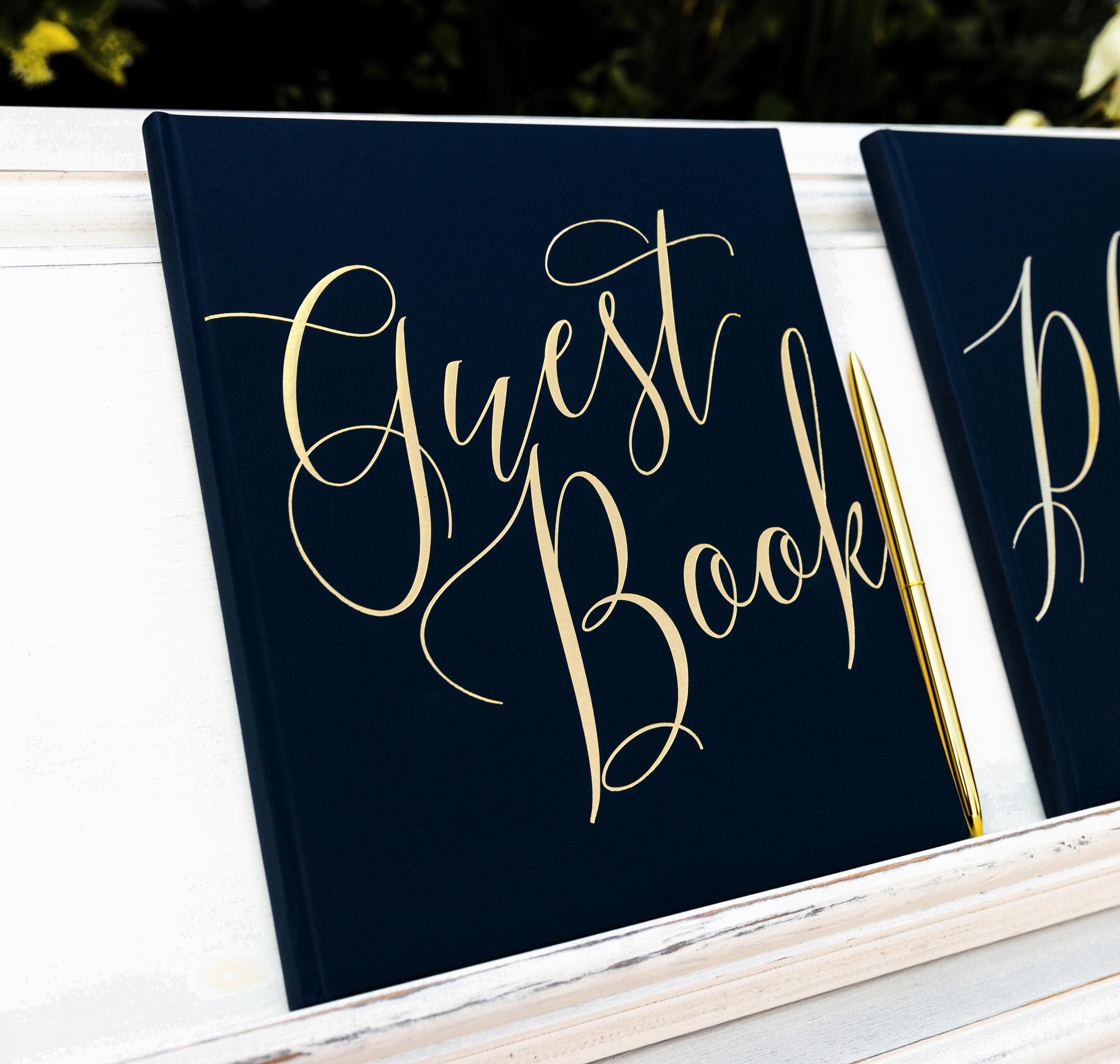 """Gästebuch """"Guest Book"""" Hochzeit Schwarz/gold"""