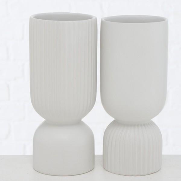Skandi Vasen-Set GINO aus Dolomit weiß, 2-tlg.