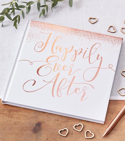 """Gästebuch """"Happily Ever After"""" Hochzeit weiß/roségold"""