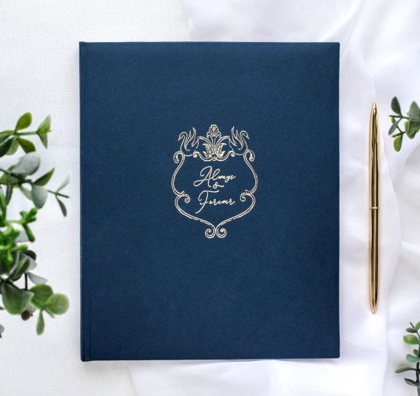 """Gästebuch """"always & forever"""" Hochzeit dunkelblau/gold"""