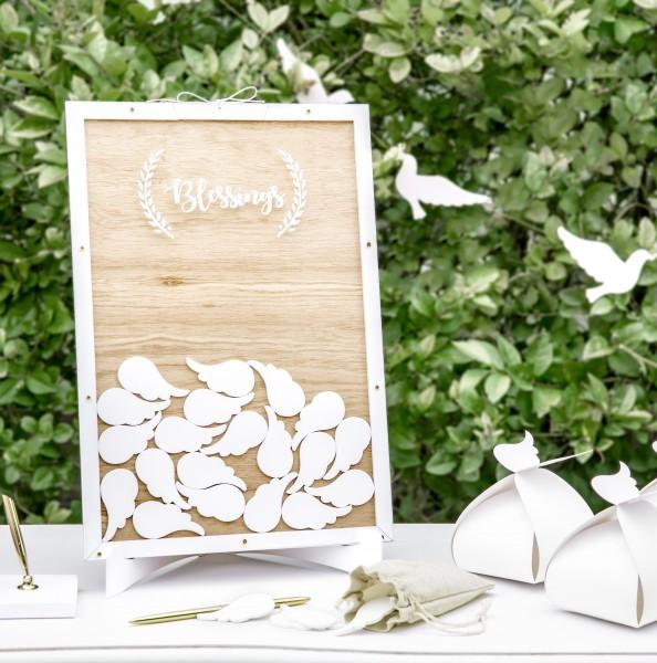 Rahmen Gästebuch mit weißen Engelsflügeln