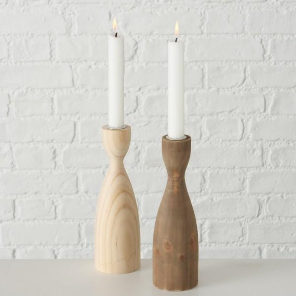 Kerzenhalter ALLARO 2er-Set aus Kiefernholz, 22cm