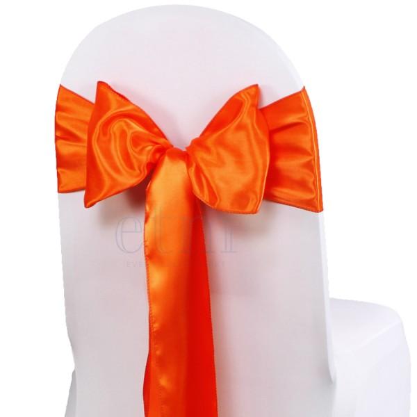 5 x Satin Stuhlschleifen orange