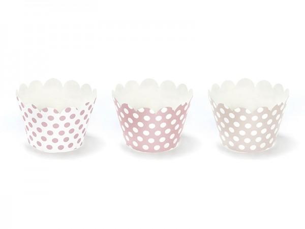Cupcake Wrapper mit Punkten - 6 Stück