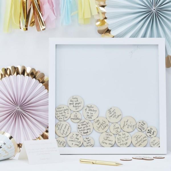 Gästebuch Bilderrahmen mit Holzkreisen weiß