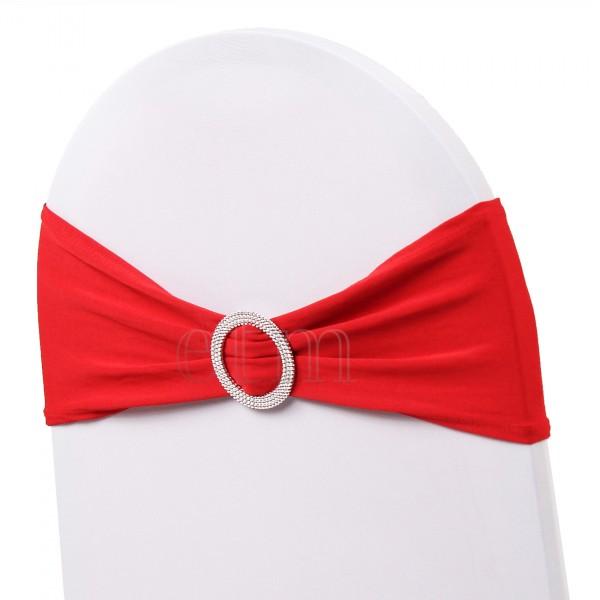5 x STRETCH Stuhlbänder mit Brosche rot