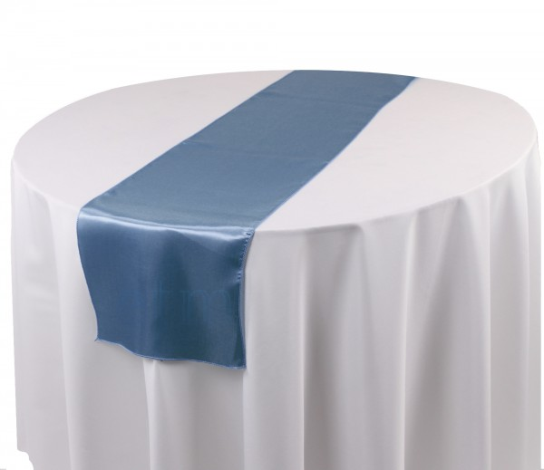 Satin Tischläufer rauchblau