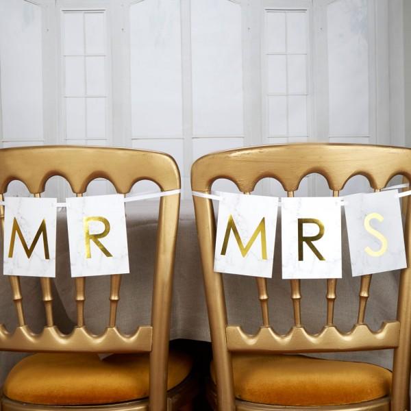 "Schriftzug Girlande ""Mr"" & ""Mrs"" Marmor"