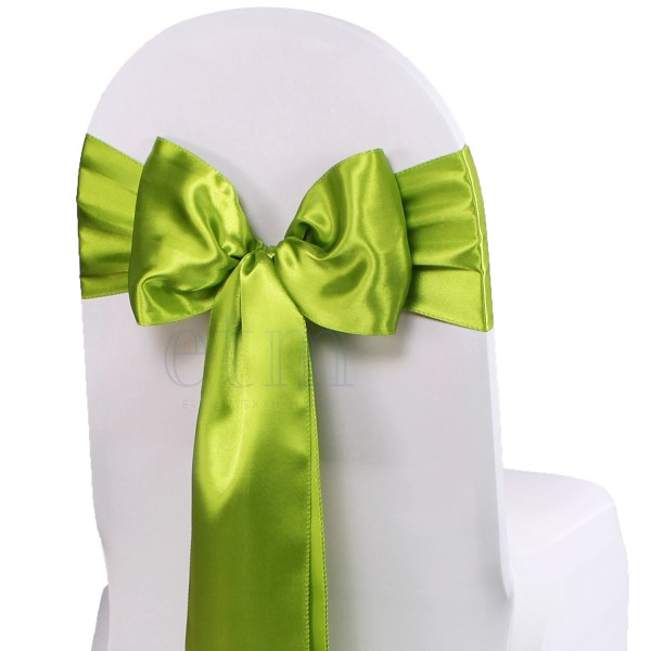 5 x Satin Stuhlschleifen weidengrün